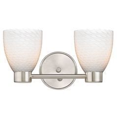 Aon Fuse Contemporary Satin Nickel Bathroom Light with Bell Glass