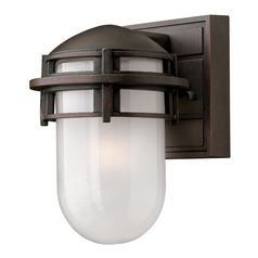 Outdoor Wall Light with White Glass in Victorian Bronze Finish