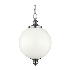 Feiss Lighting Parkman Polished Nickel Pendant Light with Globe Shade
