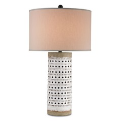 Currey and Company Lighting Terrace Antique White Crackle / Satin Black Table Lamp with Drum Shade