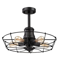 Elk Lighting Glendora Wrought Iron Black Semi-Flushmount Light