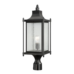 Seeded Glass Post Light Black Savoy House
