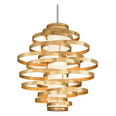 Corbett Lighting Vertigo Gold Leaf LED Pendant Light with Cylindrical Shade