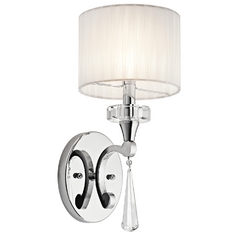 Kichler Sconce Wall Light with White Shade in Chrome Finish
