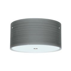 Modern Flushmount Light with Grey Glass in Satin Nickel Finish