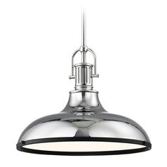 Farmhouse Pendant Light Chrome with 15.63-Inch Wide