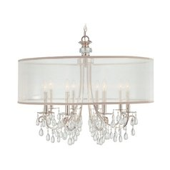 Crystal Chandelier with White Shade in Polished Chrome Finish