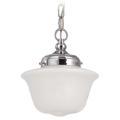 Design Classics Lighting 8-Inch Schoolhouse Mini-Pendant Light in Chrome FA4-26 / GD8 / A-26