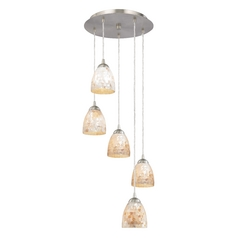 Multi-Light Pendant with Mosaic Bell Glass and Five Lights