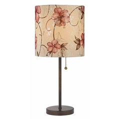 Design Classics Lighting Pull-Chain Table Lamp in Bronze Finish with Floral Rose Shade 1900-604 SH9510