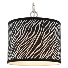 Satin Nickel Swag Light with Zebra Print Drum Shade - 1-Light