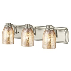 Industrial Mercury Glass 3-Light Bath Bar in Satin Nickel