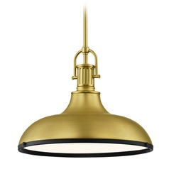 Industrial Brass Pendant Light with Black Accents 15.63-Inch Wide
