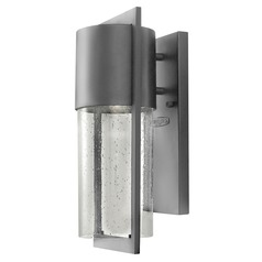 Outdoor Wall Light with Clear Glass in Hematite Finish