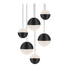 Modern Black LED Multi-Light Pendant with Frosted Shade 3000K 2400LM
