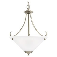 Sea Gull Lighting Parkview Antique Brushed Nickel LED Pendant Light with Conical Shade