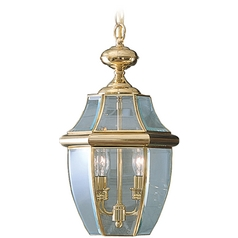 Quoizel Lighting Outdoor Hanging Light with Clear Glass in Polished Brass Finish NY1178B