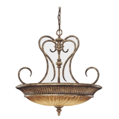 Pendant Light with Beige / Cream Glass in Raffine Aged Patina Finish