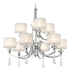 Kichler Modern Chandelier with White Shades in Chrome Finish