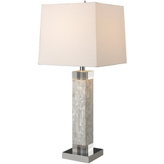 Modern Table Lamp with White Shade in Mother of Pearl Finish