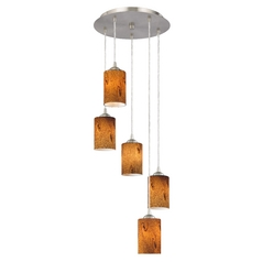 Design Classics Lighting Modern Multi-Light Pendant with Cylinder Art Glass and 5-Lights 580-09 GL1001C