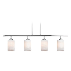 Modern Linear Pendant Light with 4-Lights and White Glass in Chrome Finish