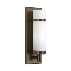 Modern Sconce Wall Light with White Glass in Antique Bronze Finish