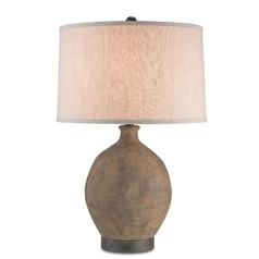 Currey and Company Lighting Petra Bronze / Distressed Black Table Lamp with Drum Shade