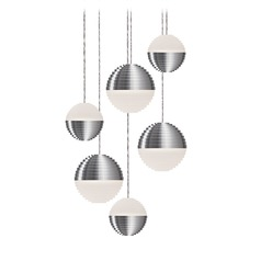 Modern Brushed Nickel LED Multi-Light Pendant with Frosted Shade 3000K 2400LM