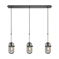 Binghamton Oil Rubbed Bronze / Brass Multi-Light Pendant with Oval Shade
