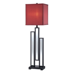 Modern Console & Buffet Lamp with Red Shade in Black Finish