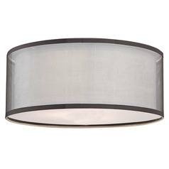 Design Classics Lighting Double Drum Lamp Shade in White Linen and Mesh  JJ DCL SH7614DIF