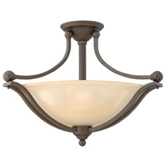 Semi-Flushmount Light with Amber Glass in Olde Bronze Finish
