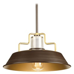 18-Inch RLM Pendant Light in Black with Bronze Accents by Progress Lighting