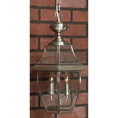 2-lt Outdoor Hanging Light with Clear Glass - Pewter Finish