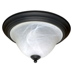Flushmount Light with Alabaster Glass in Textured Black Finish