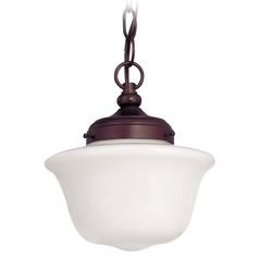 Bronze 8-Inch Schoolhouse Mini-Pendant Light with Chain
