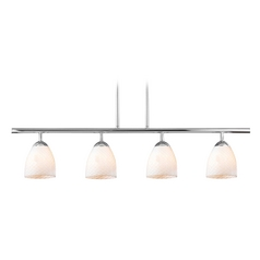 Design Classics Lighting Modern Island Light with White Glass in Chrome Finish 718-26 GL1020MB