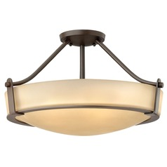 Modern Semi-Flushmount Light with Amber Glass in Olde Bronze Finish