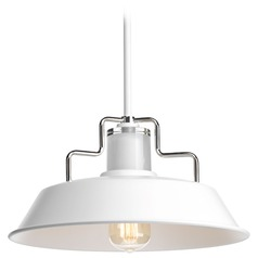 Barn Light Pendant White with Nickel Accents 14-inch Wide by Progress Lighting