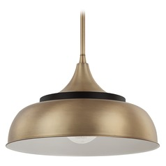 Capital Lighting Brass and Onyx Pendant Light with Bowl / Dome Shade