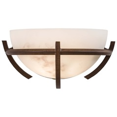 Modern Sconce Wall Light with Alabaster Glass in Nutmeg Finish