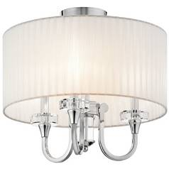 Kichler Modern Semi-Flushmount Light with White Shade in Chrome Finish