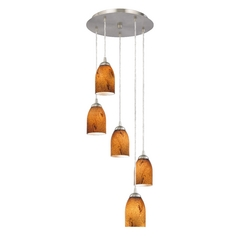 Design Classics Lighting Adjustable Multi-Light Pendant Light with Bell Art Glass 580-09 GL1001D