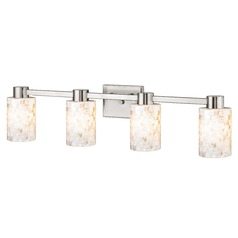 4-Light Mosaic Glass Vanity Light Satin Nickel