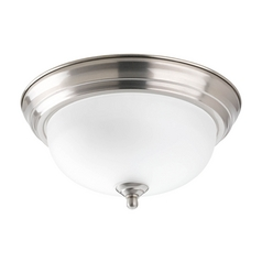 Flushmount Light with Alabaster Glass in Brushed Nickel Finish