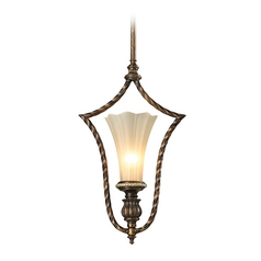 Pendant Light with Beige / Cream Glass in Burnt Bronze/weathered Gold Leaf Finish