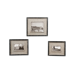 Set of Three Decorative Frames in Distressed Black Finish