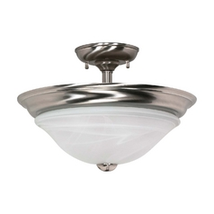 Modern Semi-Flushmount Light with Alabaster Glass in Brushed Nickel Finish