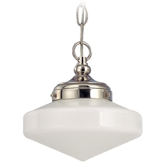 8-Inch Mini-Pendant Light with Schoolhouse Glass